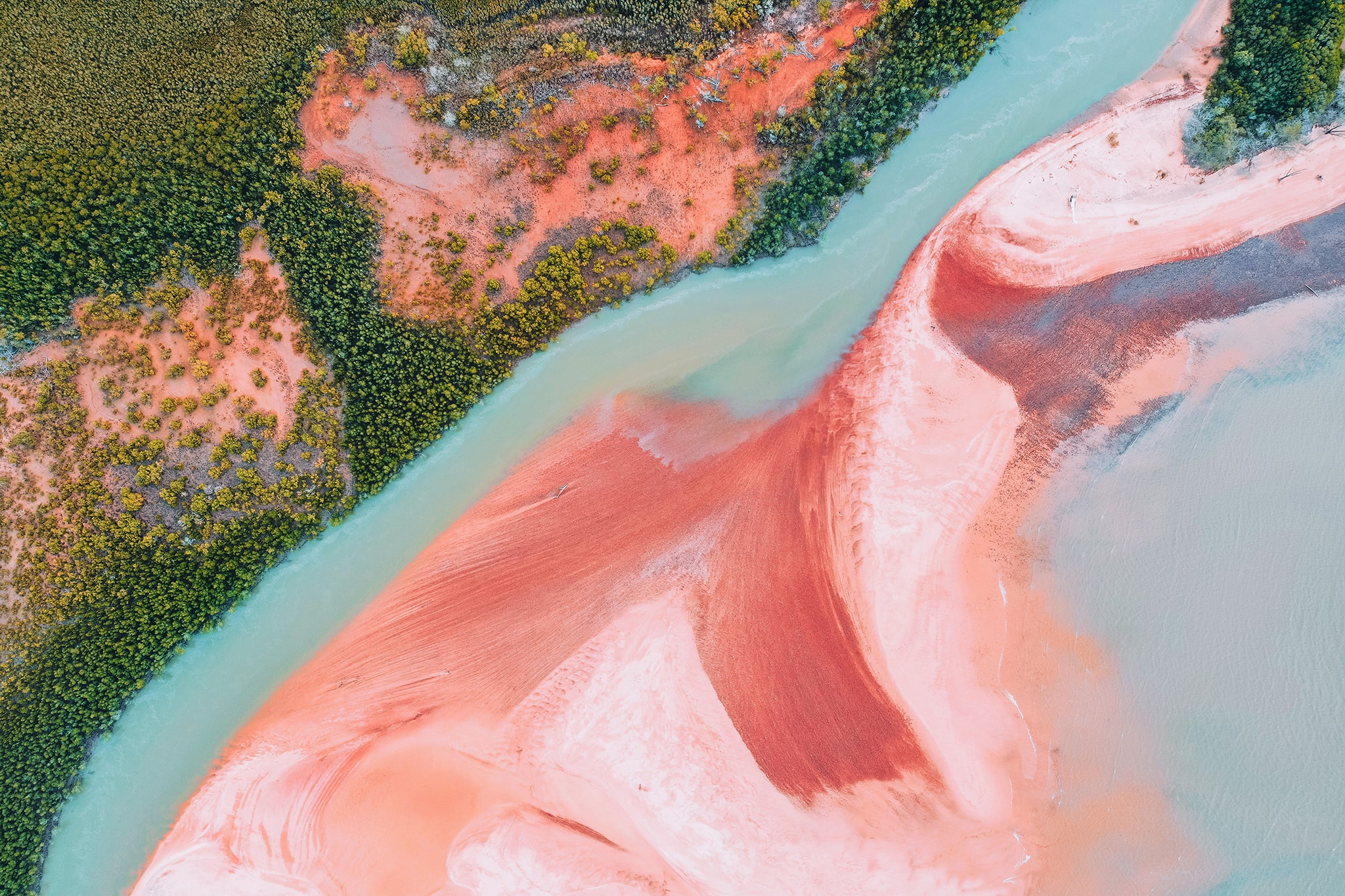 Aerial view of Rainbow Beach Tiwi Islands Tourism NT Elise Cook - Crooked Compass by Air
